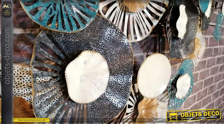Grande décoration murale en métal, forme de nénuphars finitions brillantes industrielles, 135cm
