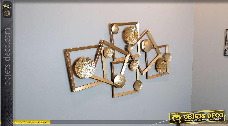 Décoration murale en métal de style abstrait, finitions dorées mates et brillantes, esprit géométrique, 116cm