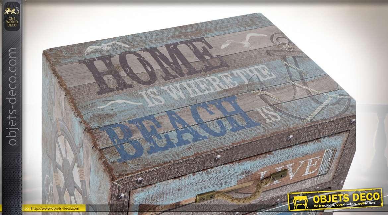 Table de chevet style bord de mer effet vieilli, 53cm
