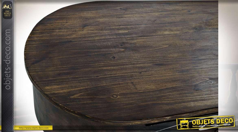 TABLE BASSE BOIS MÉTAL 124X60X50 VOITURE MARRON