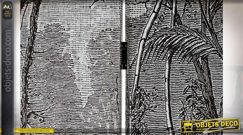 PARAVENT TOILE PIN 180X2X180 COLONIAL NOIR