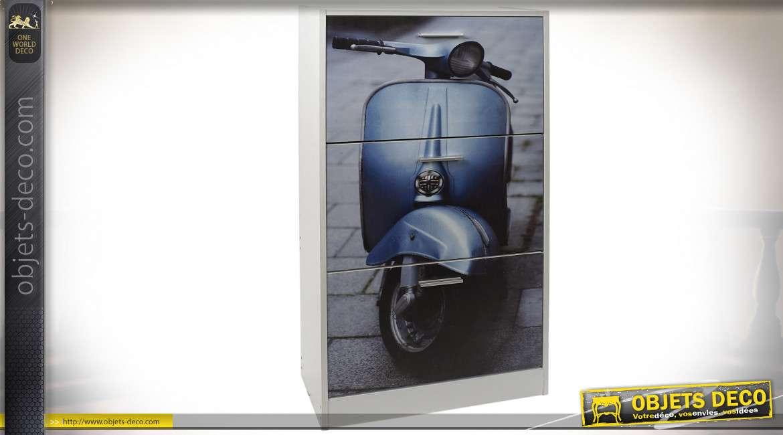 MEUBLE CHAUSSURES BOIS 60X24X115 MOTO BLEU BLANC