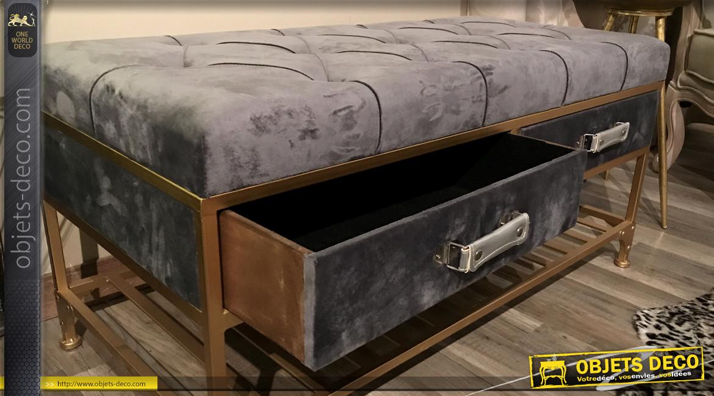Banquette en métal finition dorée et velours gris satiné, style moderne élégant, coffre de rangement intérieur, 100cm