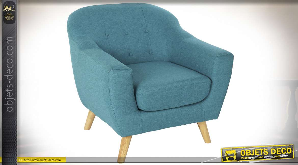 FAUTEUIL POLYESTER BOIS 81X80X80 82 TURQUOISE