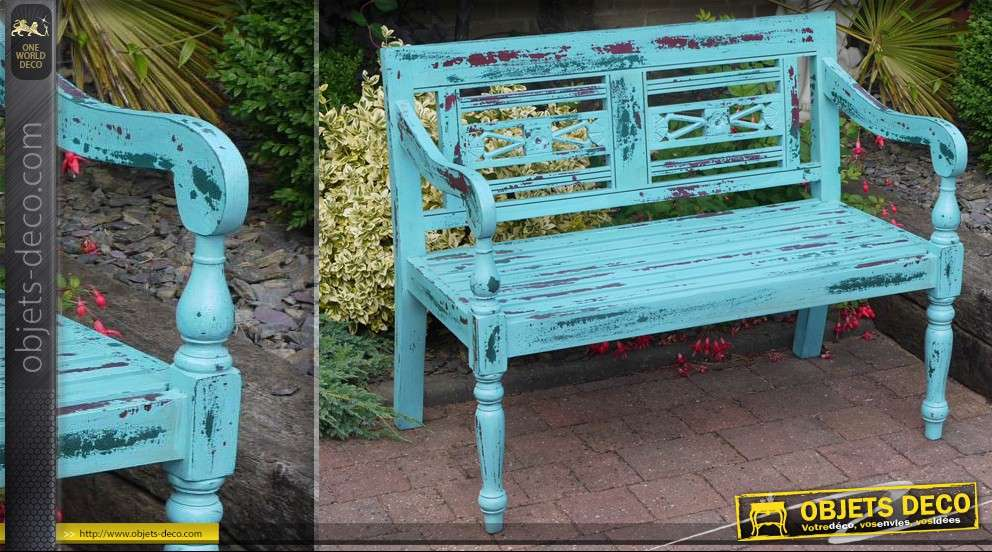 banc de jardin en bois patine turquoise antique. Black Bedroom Furniture Sets. Home Design Ideas