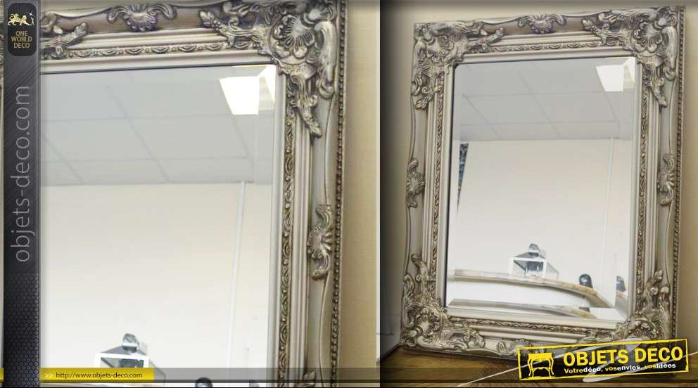 Miroir de style ancien patine argent for Miroir argent baroque