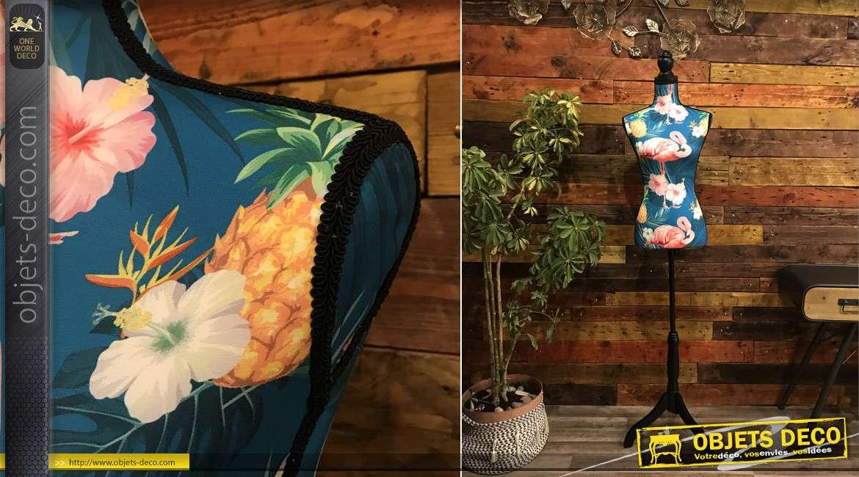 Grand mannequin en bois et polyester, motifs de flamands roses et d'ananas sur fond bleu, style coloré, 168cm