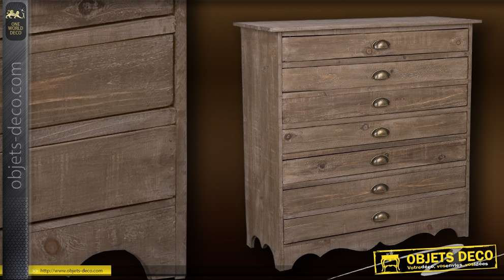 commode style industriel 7 tiroirs plats. Black Bedroom Furniture Sets. Home Design Ideas