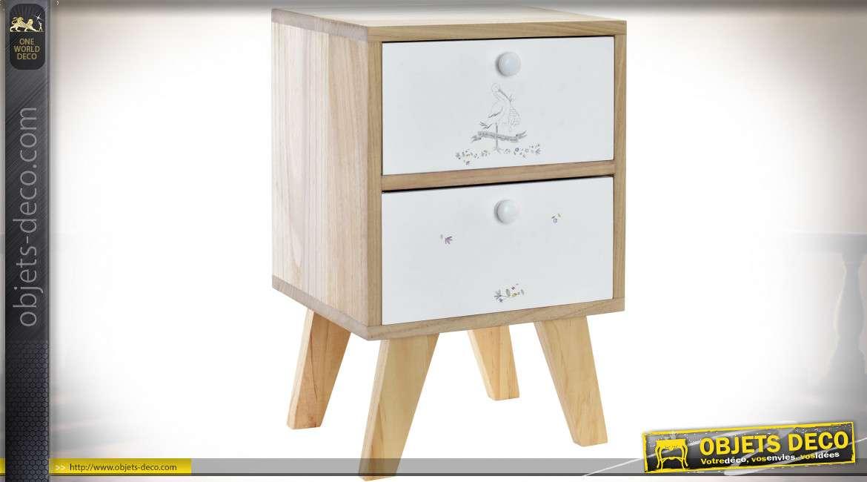 TABLE DE CHEVET BOIS 30X25X47 2CAJ. CIGOGNE BLANC
