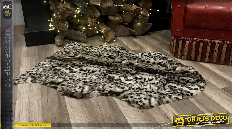 Tapis peau de bête synthétique, ambiance chaleureuse à poils longs motifs guépard, 90cm