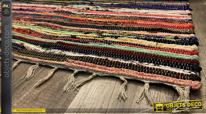 Grand tapis chindi multicolore en coton épais, ambiance contemporaine colorée, 230x160cm