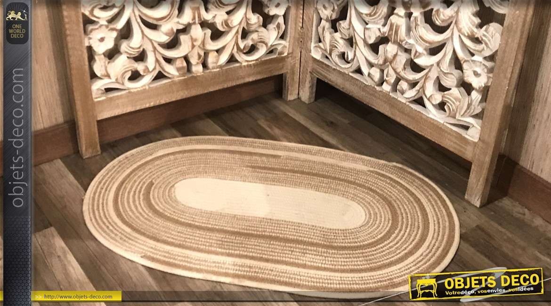 Tapis de forme ovale en coton et en jute, couleurs claires esprit scandinave, 80cm