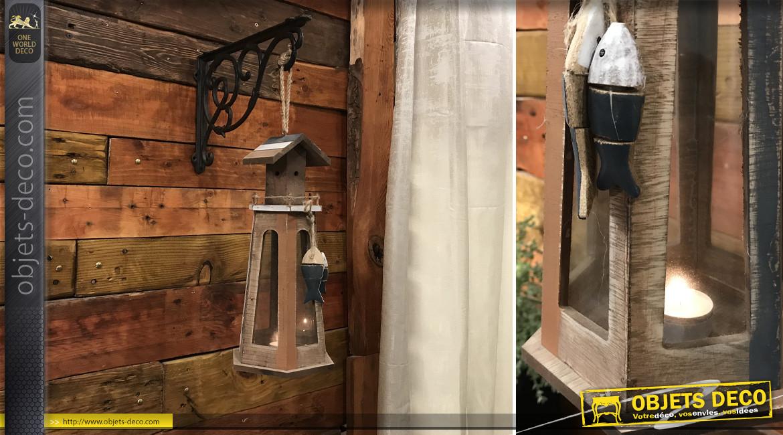 Lanterne octogonale en forme de phare marin 48 cm finitions effet anciennes