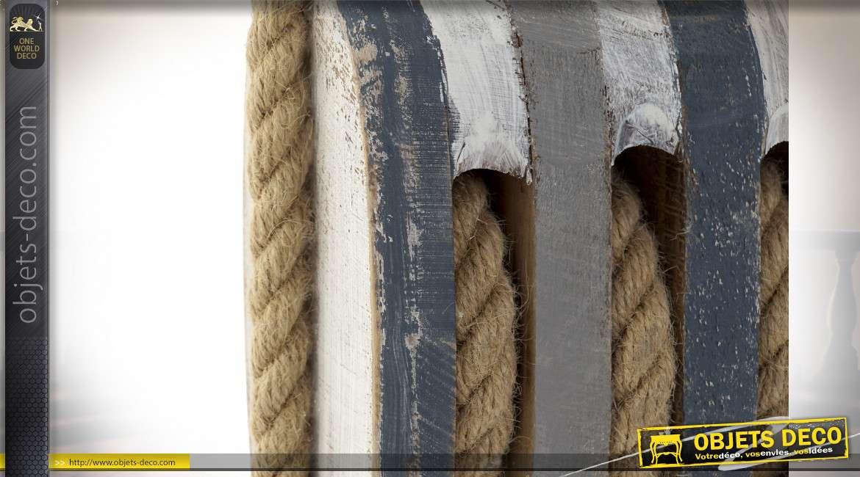 Bloque-porte en forme d'ancien palan de marine en bois et cordage