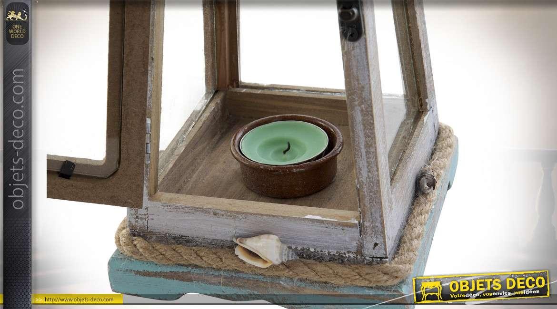 Lanterne en forme de balise maritime bois vieilli blanc et vert 43 cm