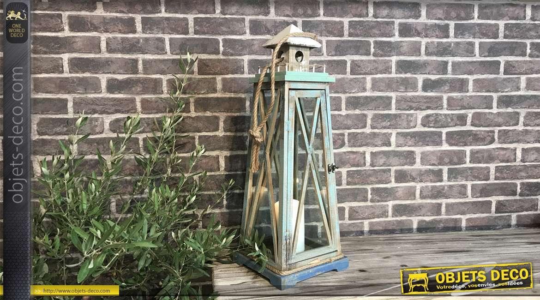 Lanterne bois et cordage rustique forme balise maritime 68 cm