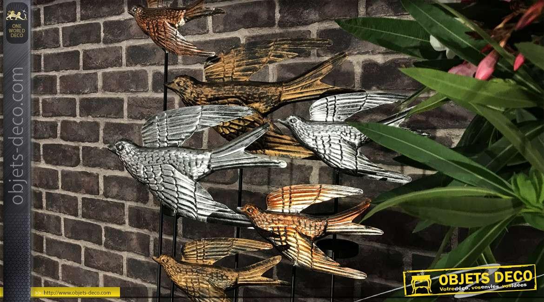 Envol d'oiseaux porte bougie, en métal aux finitions vieux doré, argent et bronze