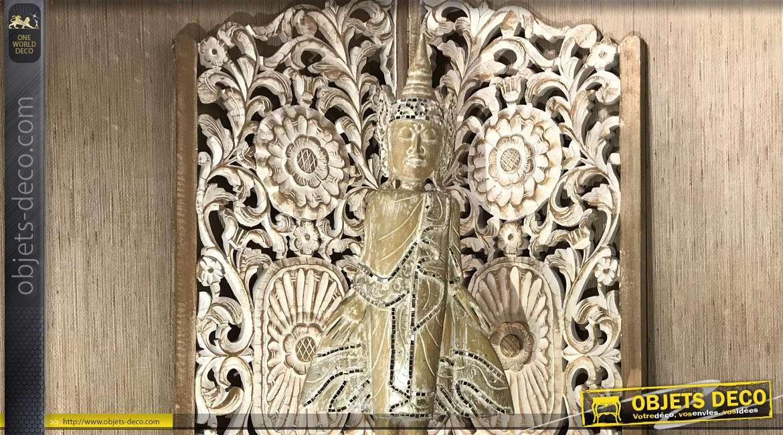 Statue de Albasia, déese balinaise en bois et mosaique miroir, sur socle noir 100cm