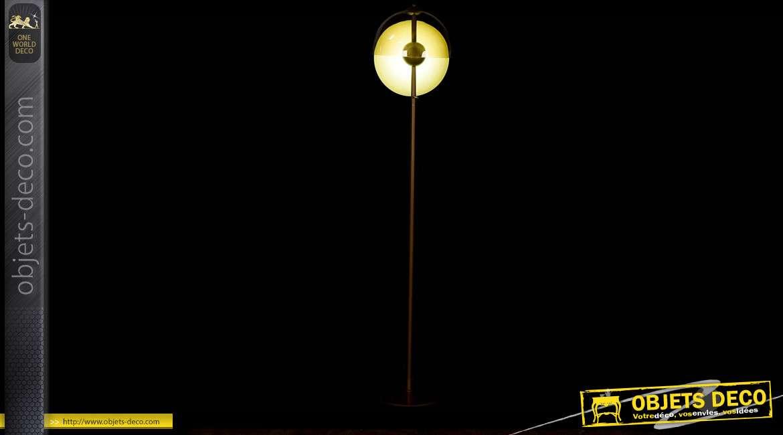 LAMPADAIRE MÉTAL VERRE 33,5X151 DORÉ