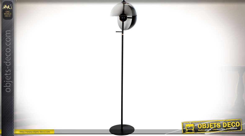 LAMPADAIRE MÉTAL VERRE 33,5X151 NOIR