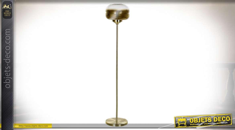 LAMPADAIRE MÉTAL VERRE 32X150 DORÉ
