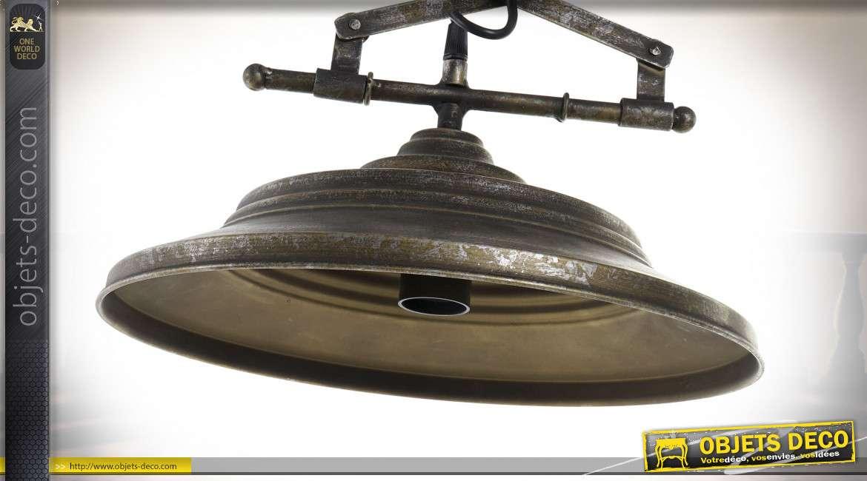 Suspension lumineuse fixe en forme de monte-baisse industriel en métal, finition oxydée Ø35cm