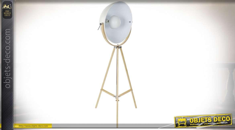 LAMPADAIRE BOIS MÉTAL 65X65X160 TRIPODE BLANC