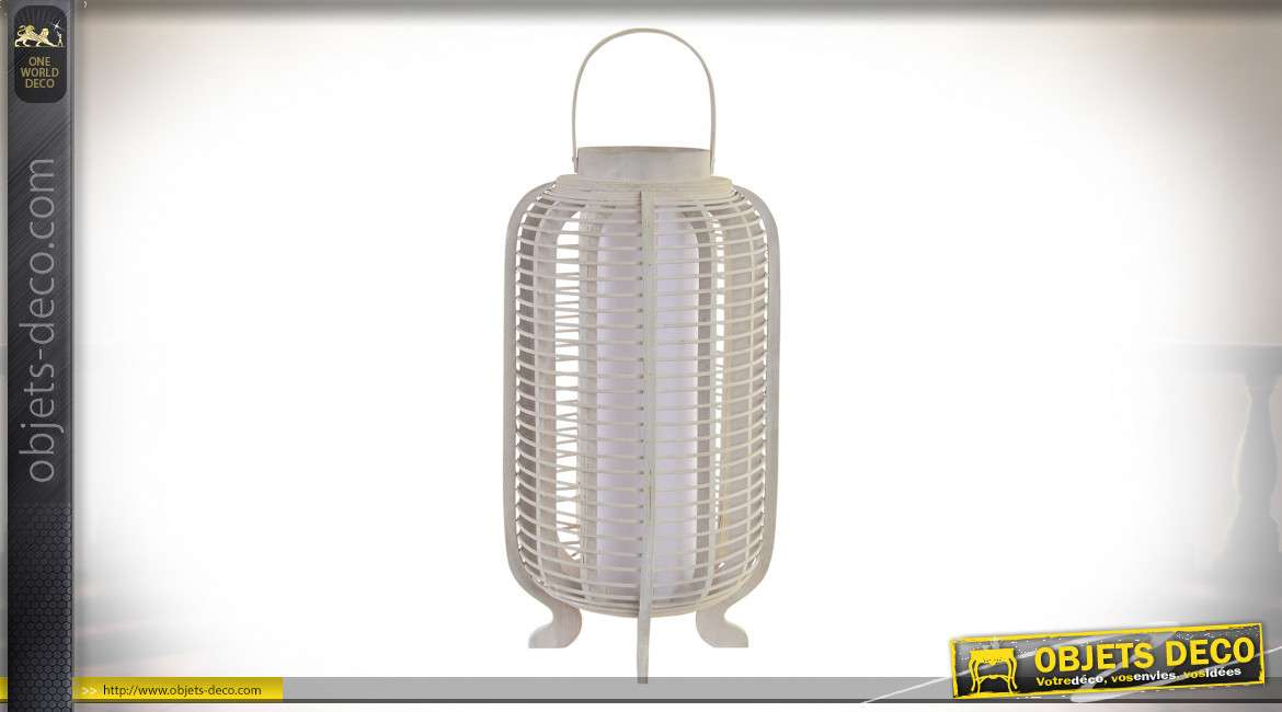 LAMPADAIRE BAMBOU 26X26X61 DÉCAPAGE BLANC