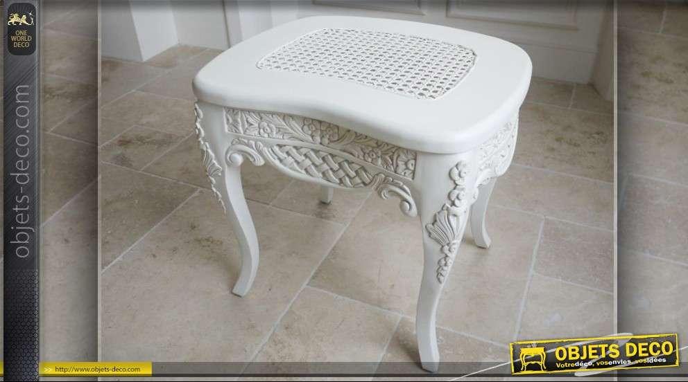 Tabouret de style baroque patine blanche - Tabouret de bar style baroque ...
