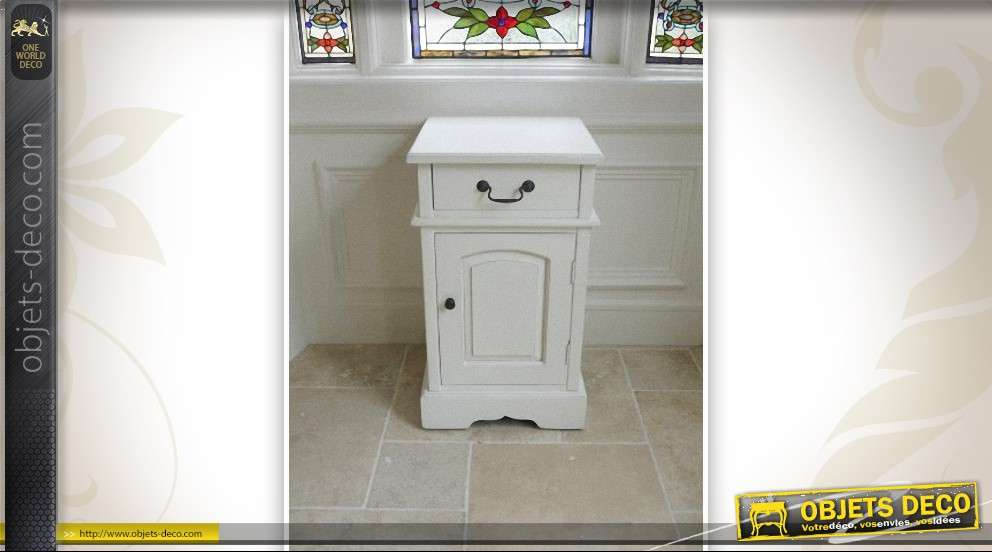 table de nuit style anglais patine blanc. Black Bedroom Furniture Sets. Home Design Ideas