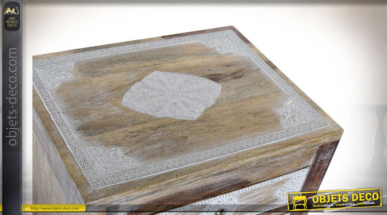 TABLE DE CHEVET MANGUE ALUMINIUM 40X32X60 DÉCAPAGE