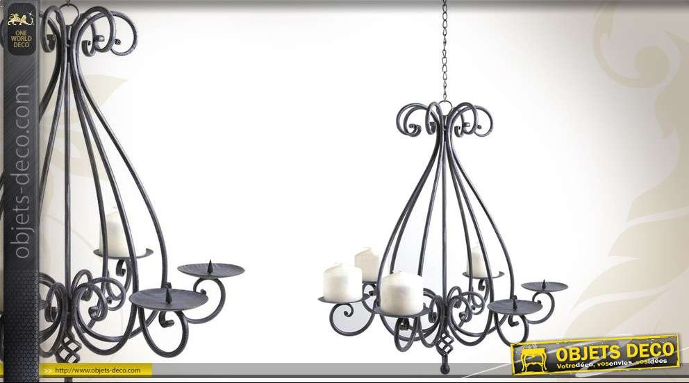lustre chandelier en fer forg six feux. Black Bedroom Furniture Sets. Home Design Ideas