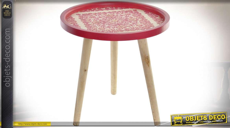 TABLE AUXILIAIRE BOIS 40X40X40 ETNICO ROSE