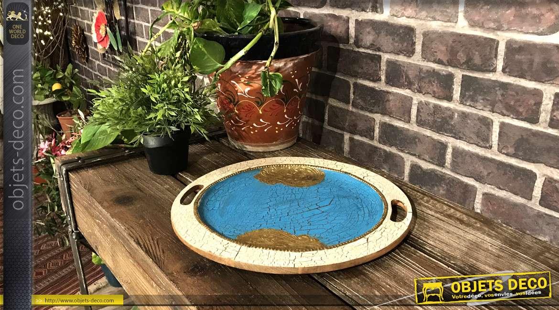 Centre de table en bois de manguier, finition craquelé turquoise doré et blanc