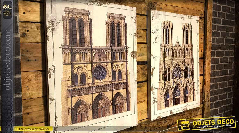Série de deux toiles dont une représentant la cathédrale de Notre Dame de Paris, 80x60cm