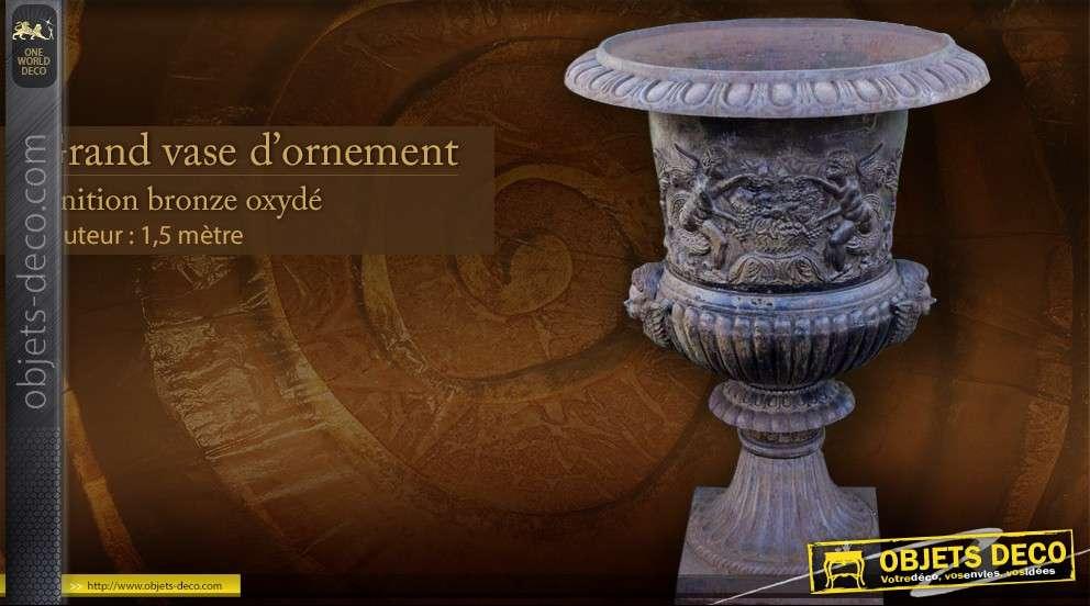 grand vase d 39 ornement finition bronze 1 5 m tre. Black Bedroom Furniture Sets. Home Design Ideas
