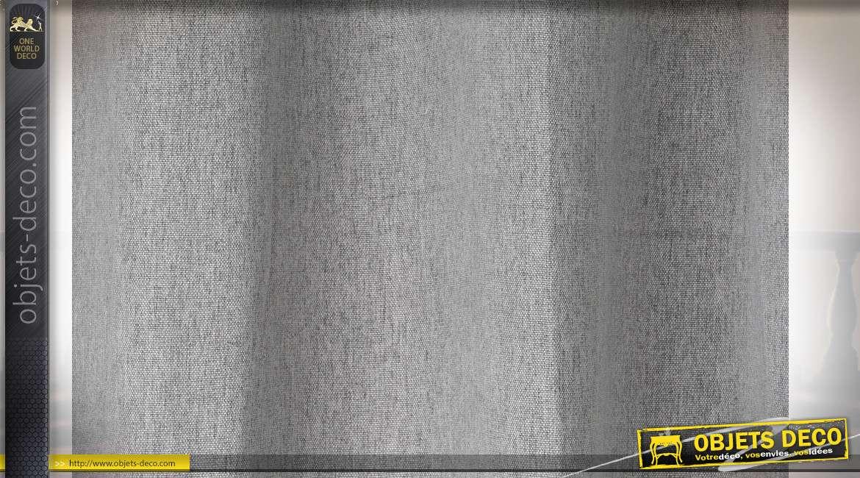 Rideau épais en polyester et coton, gris anthracite mate, avec anneaux, ambiance moderne douce, 140x270cm