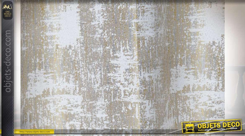 Rideau épais en polyester et coton, finition beige avec reflets argentés, ambiance chaude et chic, 140x270cm
