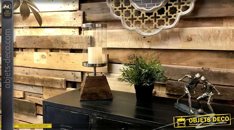 Bougeoir en bois et métal de style rustico chic, base effet vieilli 36cm