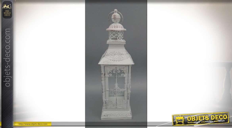Lanterne blanche rétro en métal effet vieilli 43 cm