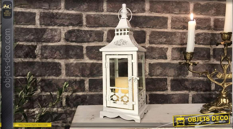Lanterne blanche patine vieillie style romantique 32 cm