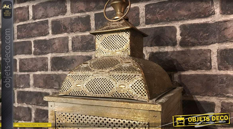 Grande lanterne en métal doré vieilli et blanchi 66 cm