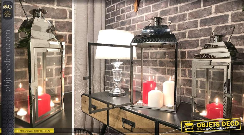 Duo de lanternes design rectangulaires en métal chromé 55 cm