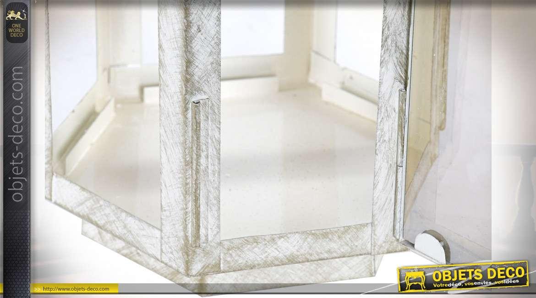 Lanterne hexagonale en métal doré brillante et blanc éraflé 45 cm