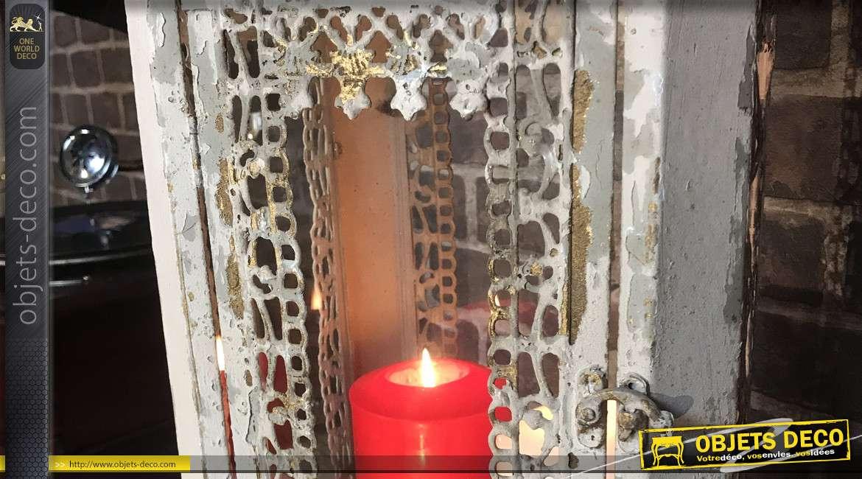 Lanterne vintage et romantique style 1900 en métal beige vieilli 60 cm