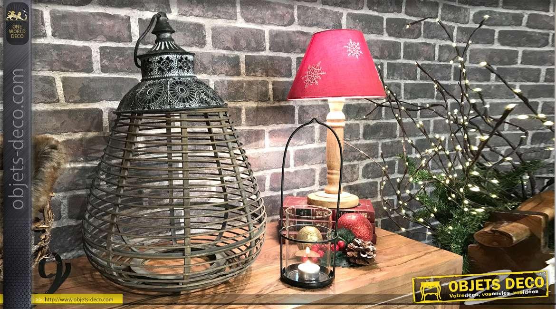 Lanterne exotique en bambou naturel et métal 46 cm