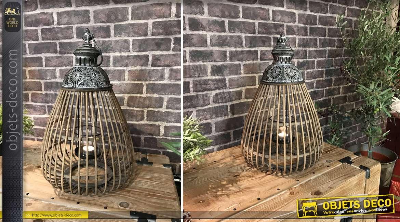 Lanterne en bambou verre et métal de style exotique 49 cm