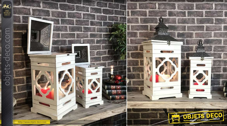 Set de 2 lanternes en bois blanchi et métal finition zin ancien 65 cm