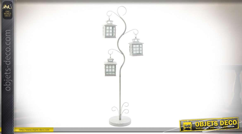 Lampadaire avec 3 lanternes blanches suspendues en métal 130 cm