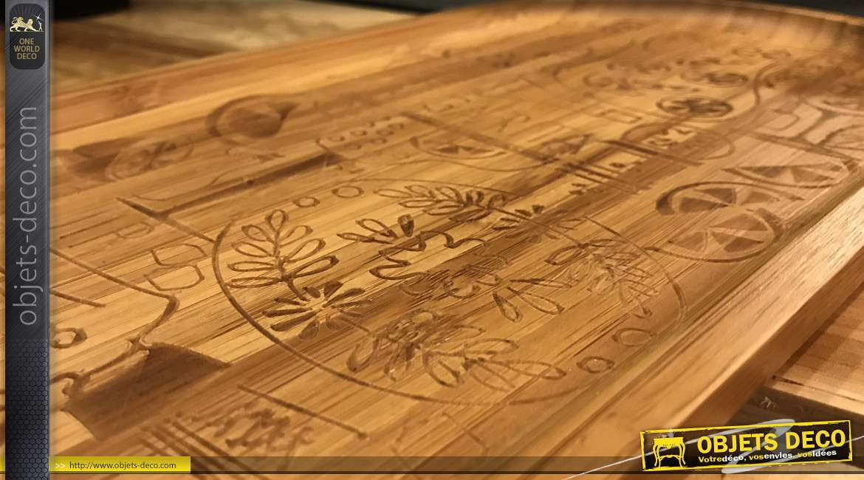 Plateau en bambou avec inscriptions de bar, forme ovale, 45cm